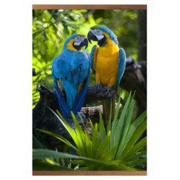 Настенный инфракрасный пленочный обогреватель «Домашний очаг» с картиной попугаев